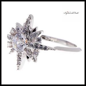 CZ JEWELED STONE PAVE CRYSTAL STATEMENT RING